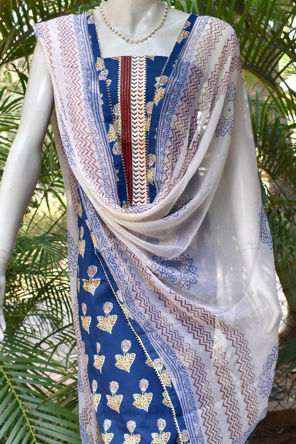 Beautiful Cotton suit with readymade yoke and gota work