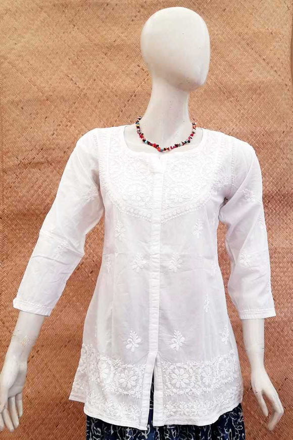 Elegant Cotton Short Kurta with Chikankari work . Size - 38