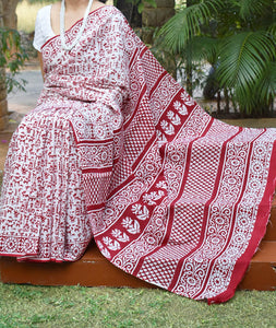 Beautiful Hand Block Printed Cotton Saree