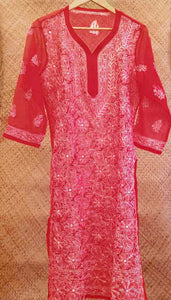 Elegant Georgette Long Kurta with Chikankari Size - 44