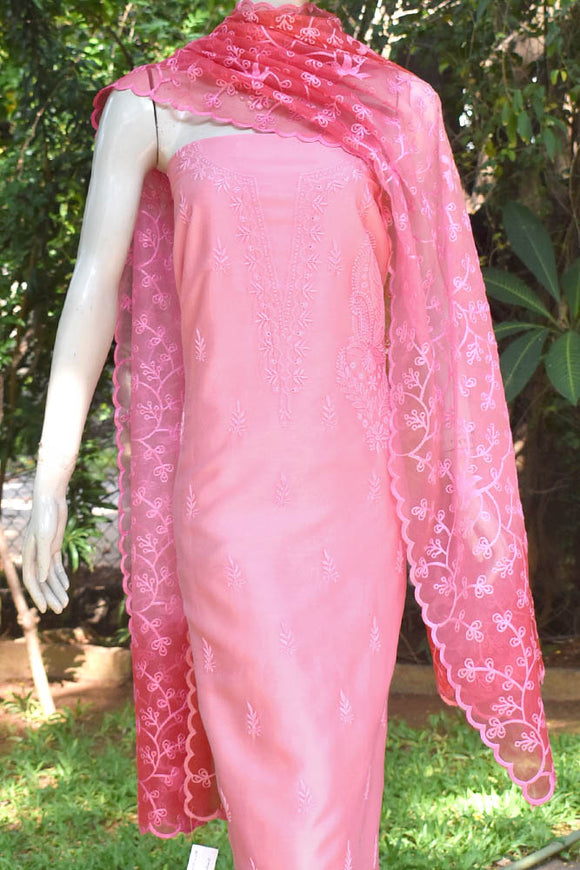 Elegant Chanderi  Kurta with Chikankari work & Organza dupatta with embroidery