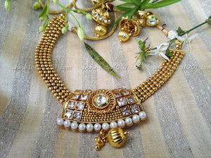 Designer Pearl, Kundan & Polki Necklace Set