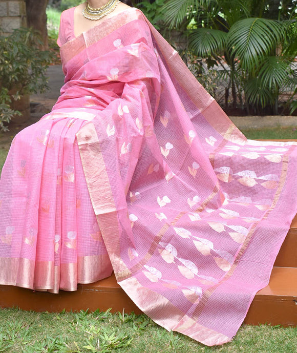 Beautiful Kota Cotton Saree with gold & silver Zari bootis