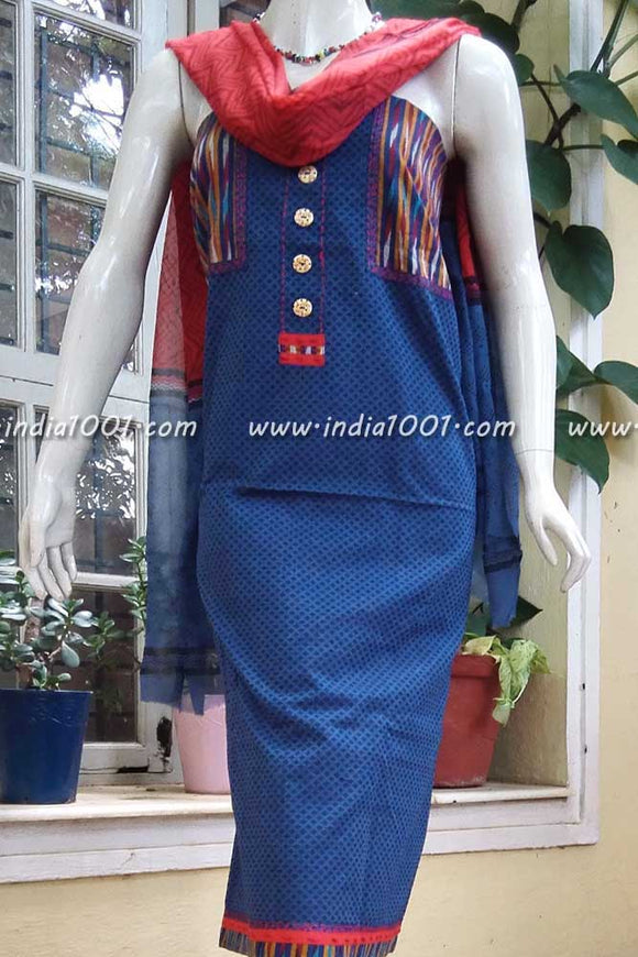 Elegant Cotton unstitched suit with Ikkat patch work