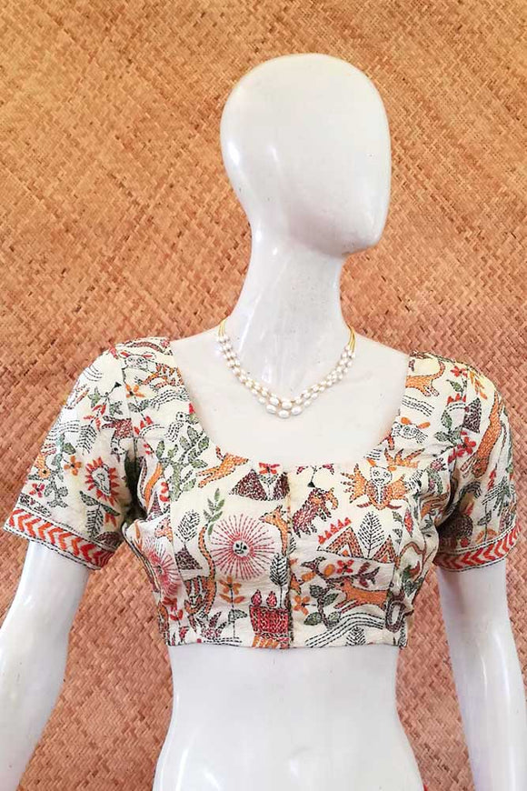 Hand Embroidered Nakkshi Kantha  Blouse Size - 38 , 40