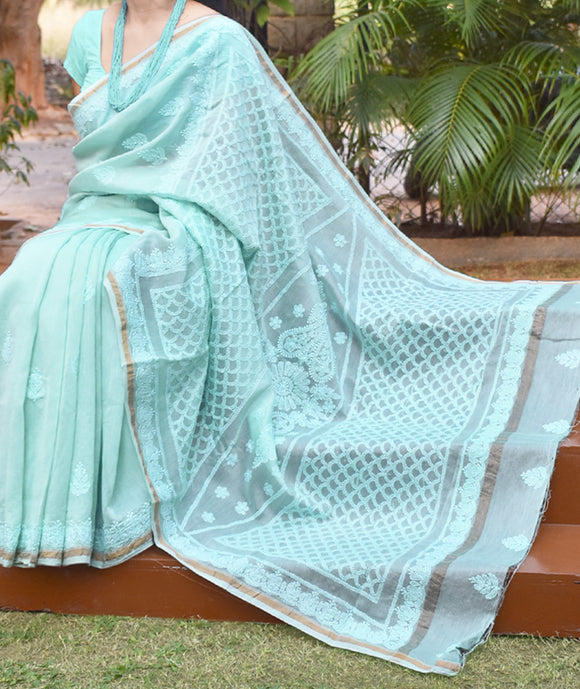 Elegant Chanderi Silk Cotton Saree with Lucknowi Chikankari work