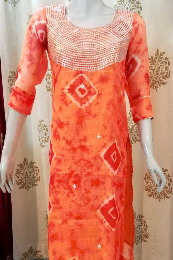 Elegant Kota Silk kurta with Hand embroidered Pitta & gota work - Size 38