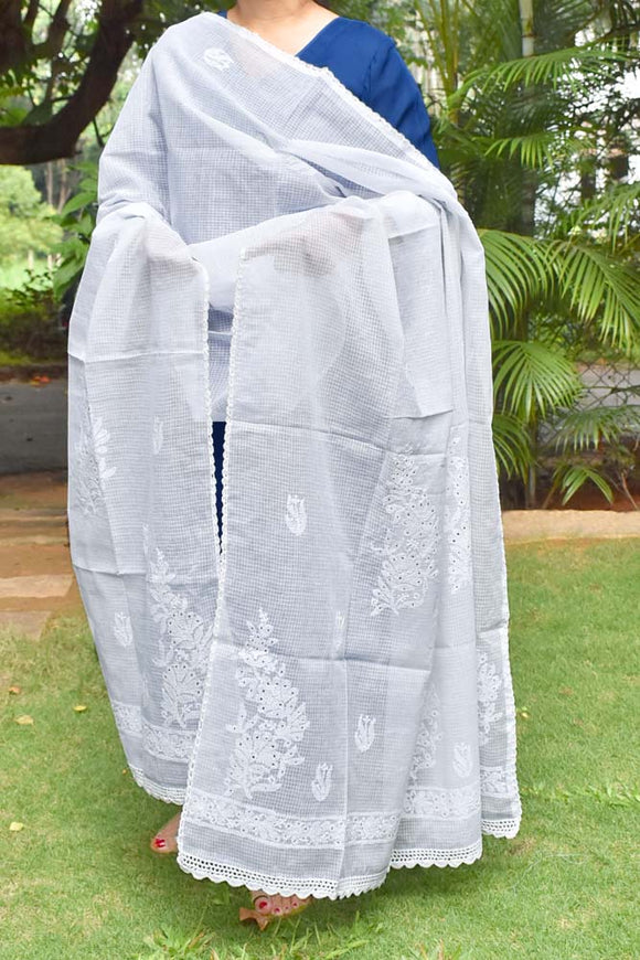 Hand Embroidered Lucknow Chikankari & Muqaish work Kota Doria Dupatta