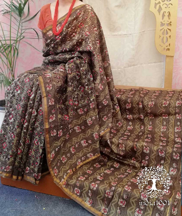 Elegant Chanderi Saree with Jwata Hand Block Print