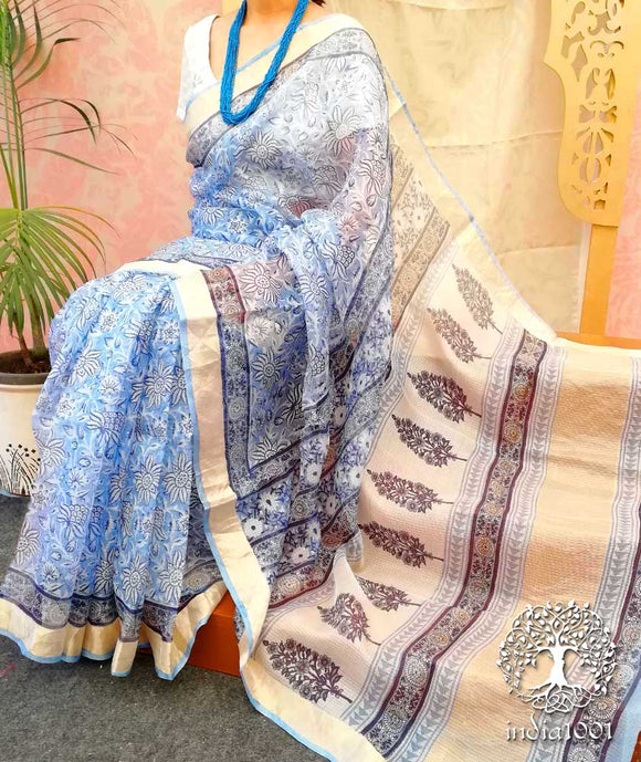 Elegant Kota Silk Saree with Rapid block print