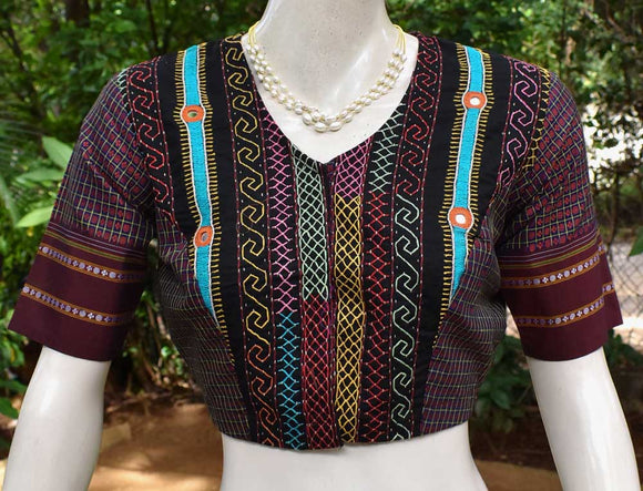 Beautiful Khun Silk blouse with hand done Lambani work - Size 38 ( can be extended )