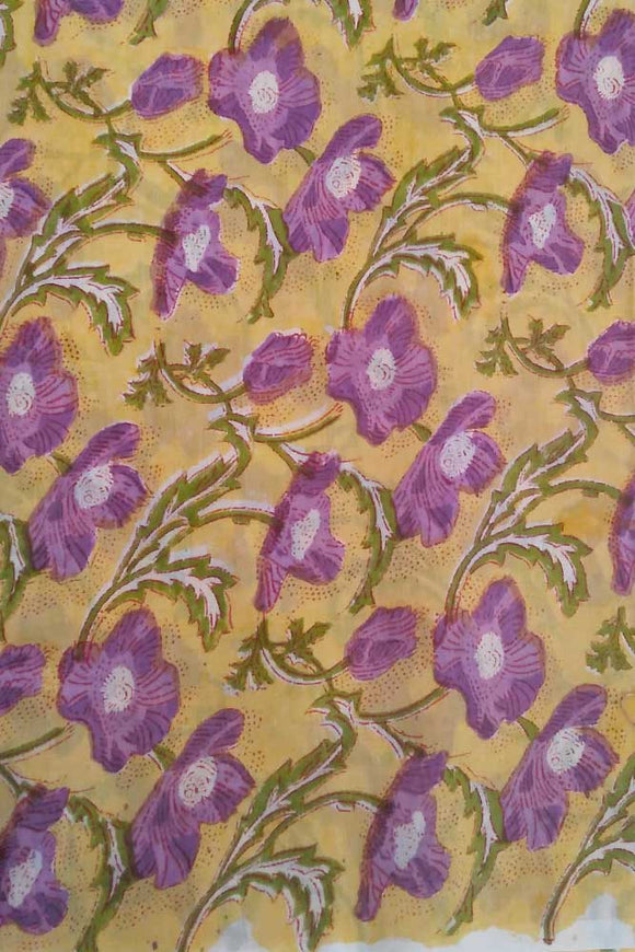 Rapid Hand Block Printed Chanderi Cotton Running Fabric