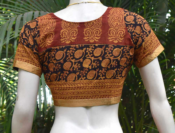 Block Printed cotton Blouse - Size 36 , 38