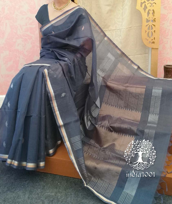Fine & Elegant Handwoven Kora Silk cotton Saree with temple border