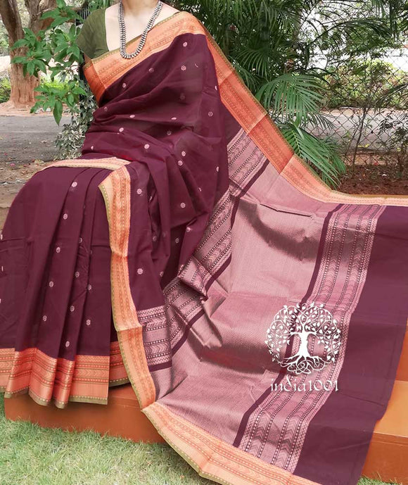 Elegant Chettinad Cotton Saree with Woven border & palla