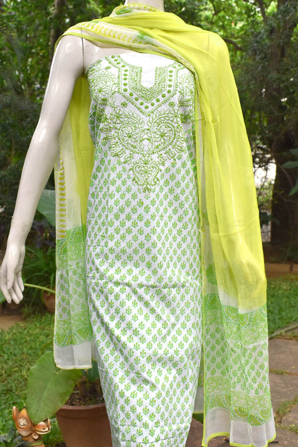 Beautiful Cotton Unstitched Suit Fabric with Chikankari & Hand Block printing