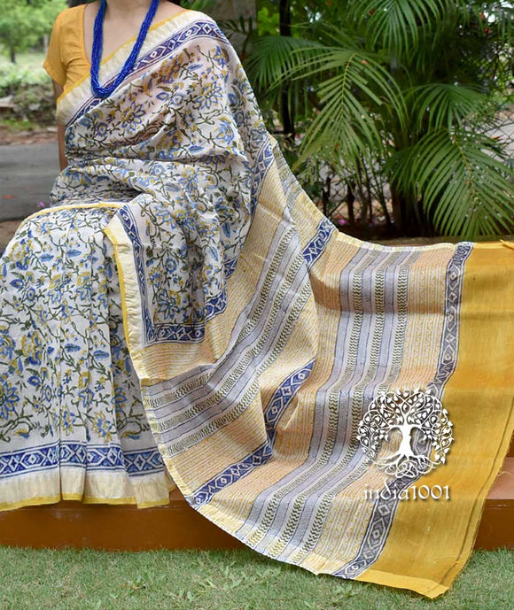 Beautiful Hand Block Printed Chanderi saree with woven borders
