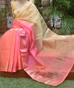 Beautiful Multi Dyed Kota Silk Saree with Zari border