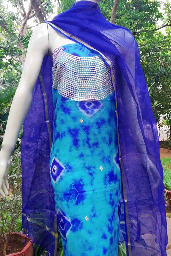Elegant Tie & Dye Kota silk kurta with Pitta work & Kota silk dupatta