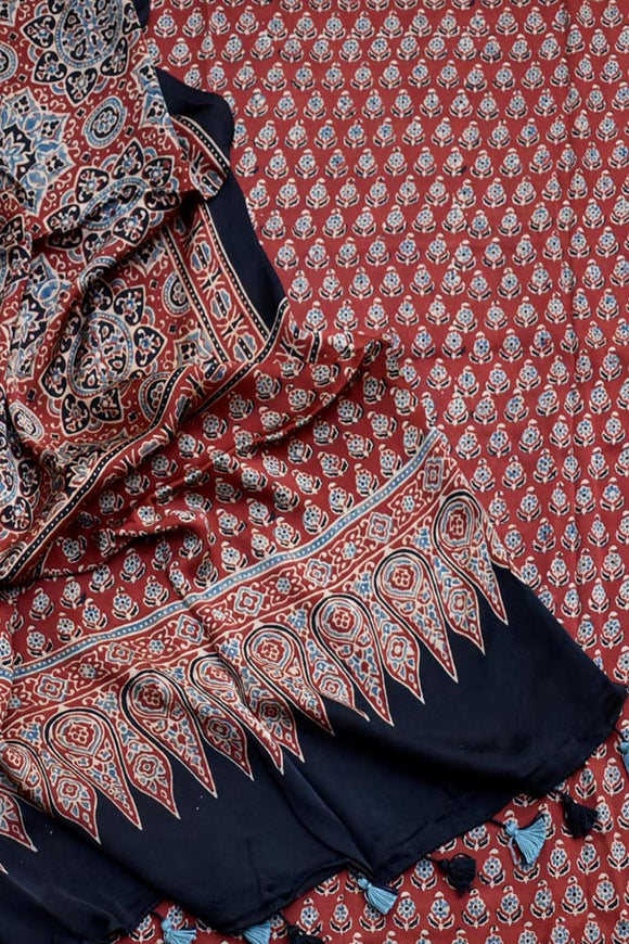 Elegant Ajrakh Modal Kurta fabric and Dupatta with tassels