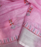 Elegant Linen Saree with embroidery & zari border