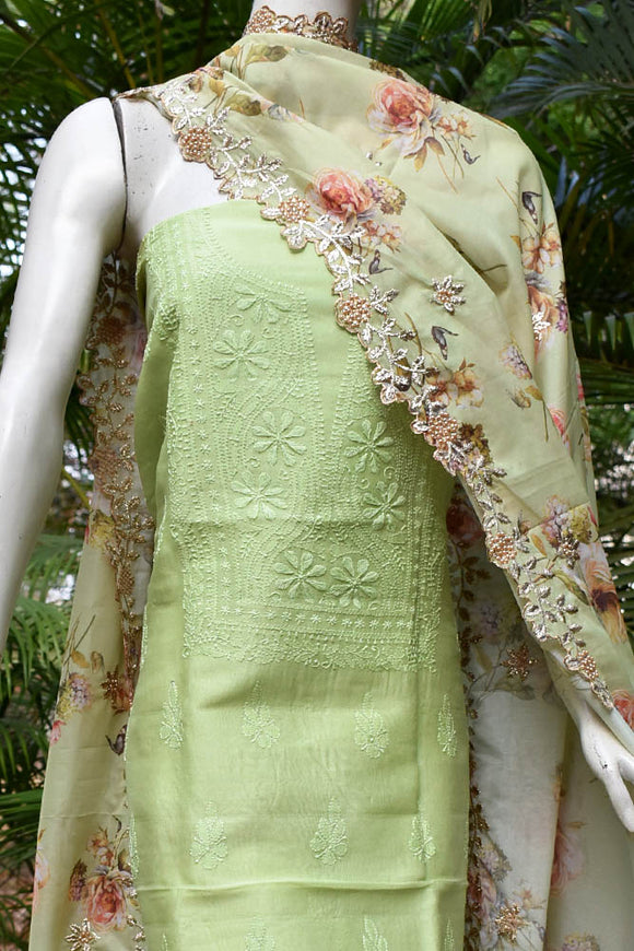 Elegant Chanderi  Kurta with Chikankari work & Faux Organza dupatta with Embroidery
