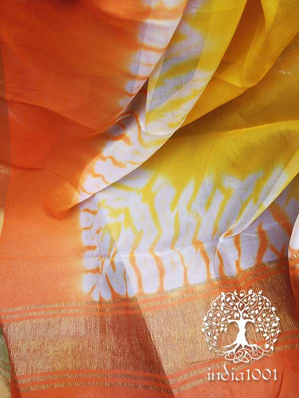Designer Chiffon Saree with Hand crafted shibori patterns