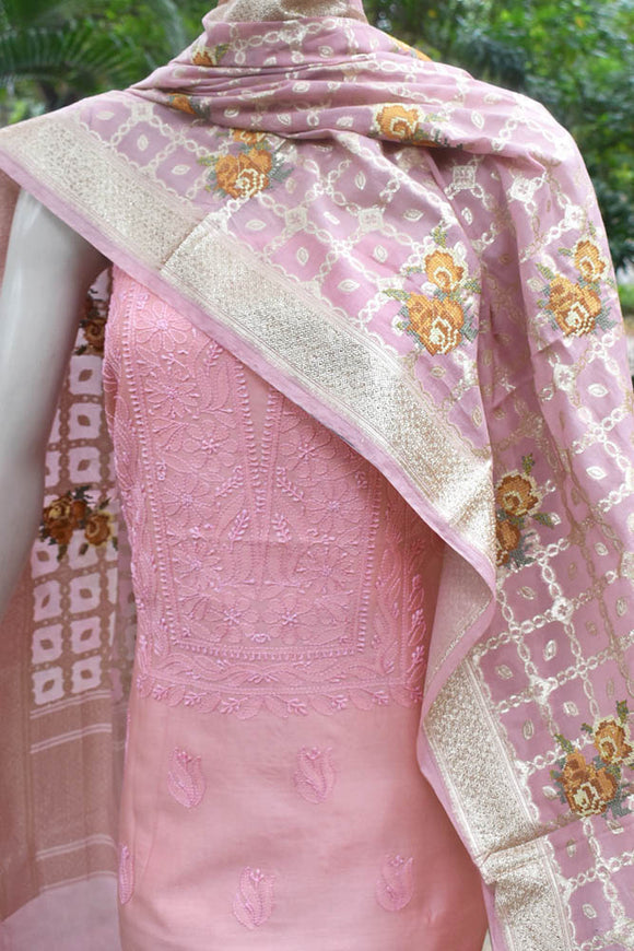 Elegant Chanderi 3 pc Suit with Chikankari Work Kurta & Embroidered Banarasi dupatta