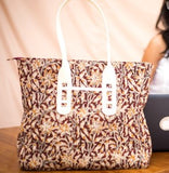 Brown & Cream Flower Kalamkari Tote Bag