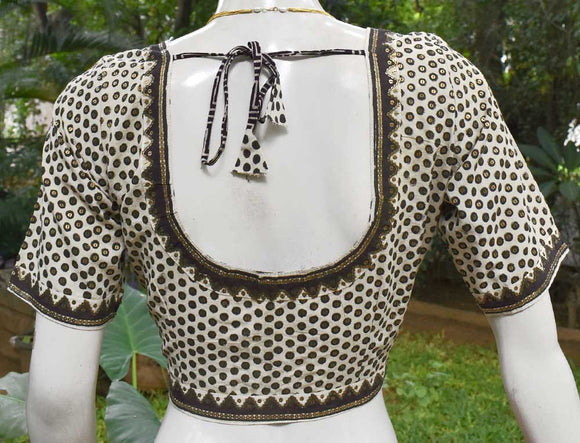 Cotton Blouse with all over Sequins  - Size 40
