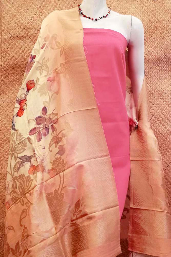 Elegant Self woven Silk Dupatta with Digital prints