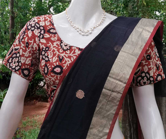 Block Printed cotton Blouse - Size 42