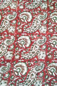 Block Printed with running kantha Cotton Cut Fabric