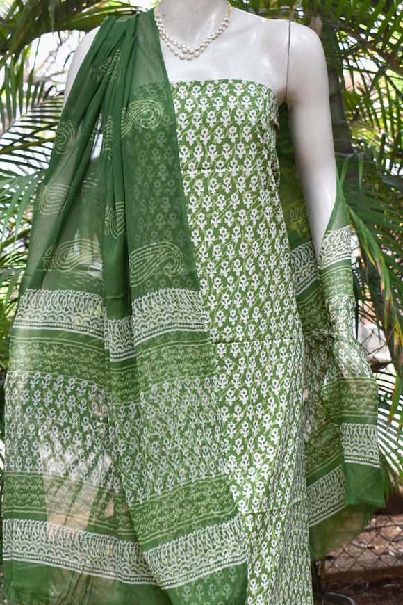 Elegant Hand Block Printed unstitched suit fabric