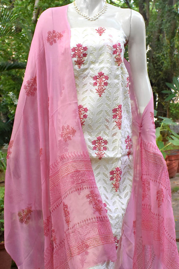 Hand Block Printed Cotton Suit with applique work
