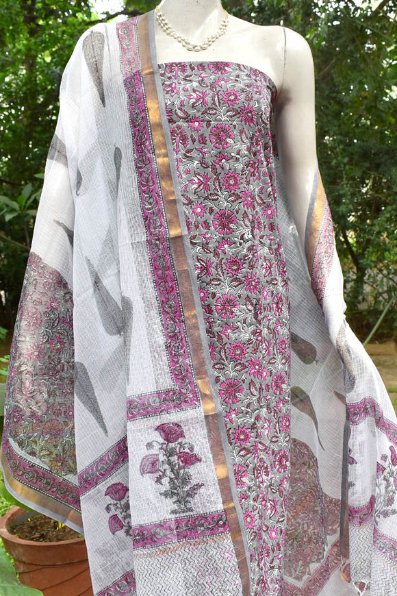 Elegant Cotton & Kota unstitched suit fabric