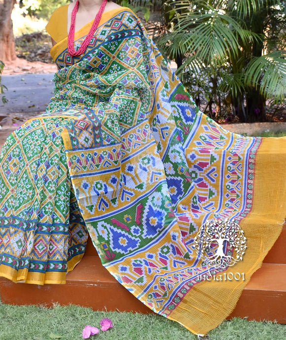 Beautiful Kota Cotton Saree with Patola prints