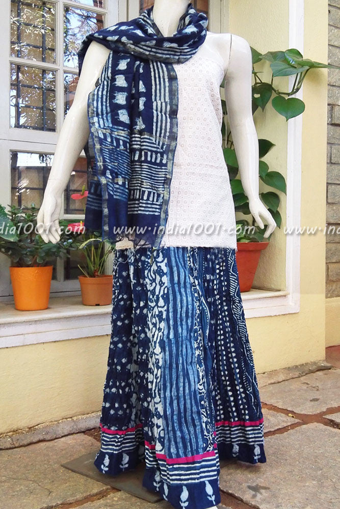 Stunning Indigo Cotton long skirt