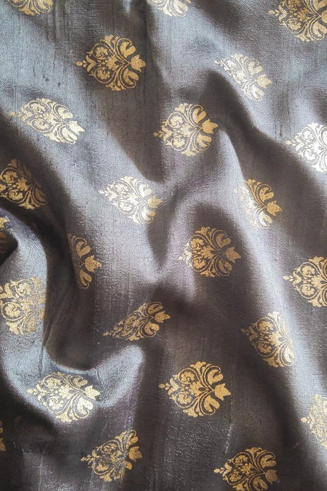 Dupion Silk fabric with Khadi Block print (1mtr)