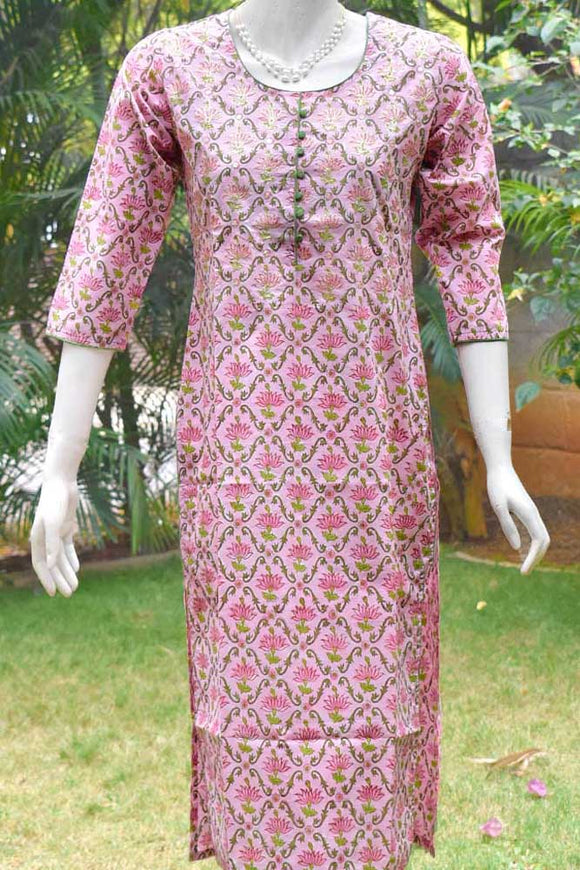 Block Printed Cotton Kurta with Pitta Work