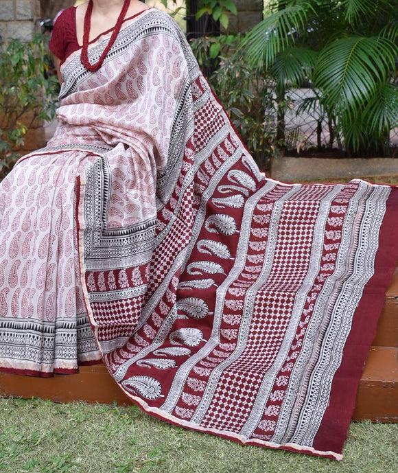 Elegant Bagh Hand Block Printed Chanderi saree