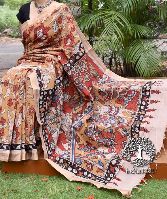 Beautiful Hand Painted Kalamkari Saree on Mangalgiri cotton
