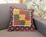 Ajrakh Block Printed patchwork Cotton Cushion Cover  ( set of 2)