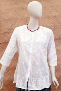 Elegant Cotton Short Kurta with Chikankari work . Size - 42