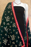 Embroidered Velvet dupatta with stitched borders