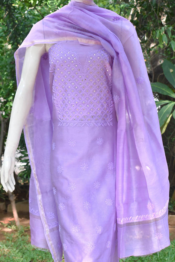 Elegant Chanderi  Kurta & Dupatta Set with Hand Chikankari & Muqaish work