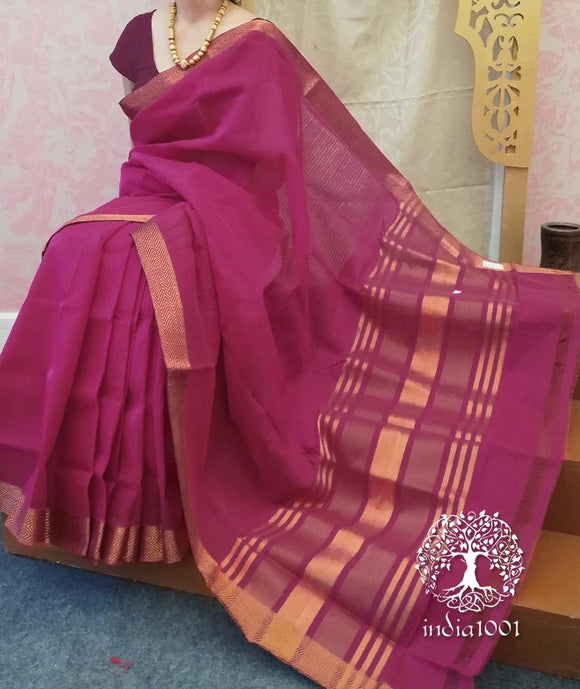 Elegant Mangalgiri & Linen saree with zari border