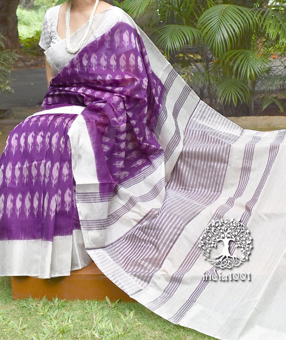 Elegant Handwoven Chinnalpatti Ikkat Silk cotton saree with Silver Zari