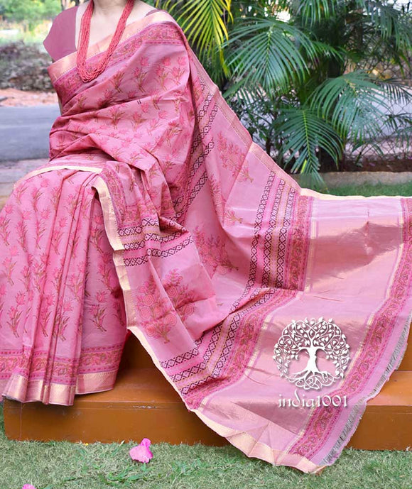 Beautiful Woven Mangalgiri Saree with Sanganer Block printing