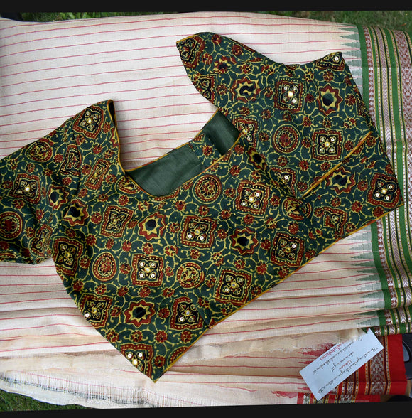 Block Printed Ajrakh cotton Blouse  - Size 36 , 38 , 40 , 42 , 44
